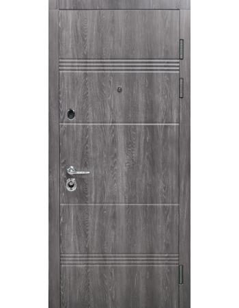 Двері вхідні БУЛАТ Магнат модель 190-522 Дуб немо карбон / дуб немо срібло
