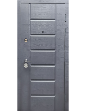 Двери входные БУЛАТ Гарант модель 117 дуб грифель горизонт/дуб пломбир горизонт