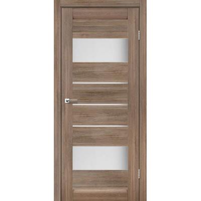 Межкомнатные двери Leador модель Arona серое дерево со стеклом сатин