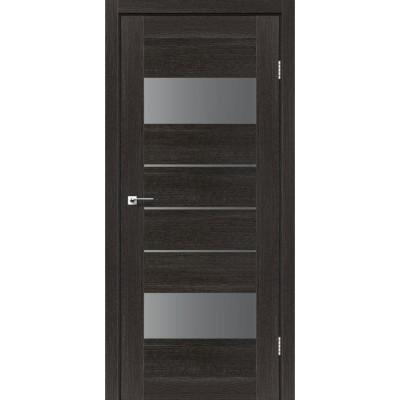 Межкомнатные двери Leador модель Arona дуб саксонский со стеклом серый графит