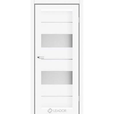 Межкомнатные двери Leador модель Canneli белый матовый со стеклом сатин белый