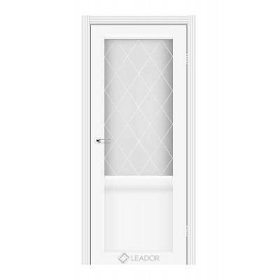 Межкомнатные двери Leador модель Laura LR-01белый матовый со стеклом сатин белый