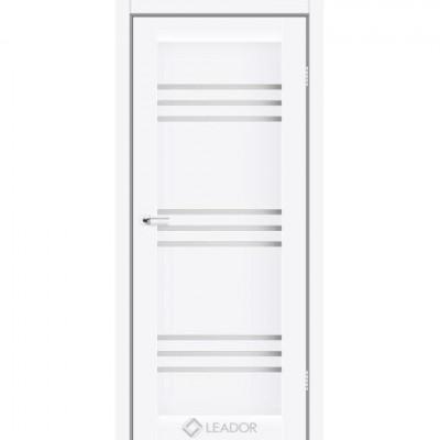 Межкомнатные двери Leador модель Sovana белый матовый со стеклом сатин белый