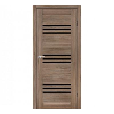 Межкомнатные двери Leador модель Sovana серое дерево с черным стеклом