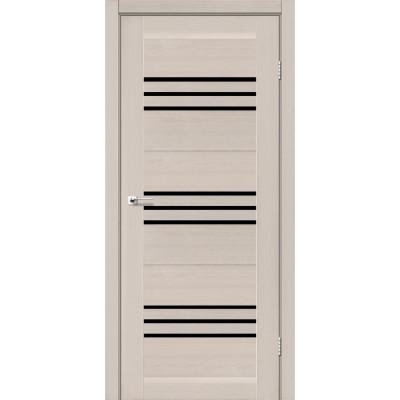 Межкомнатные двери Leador модель Sovana дуб латте с черным стеклом