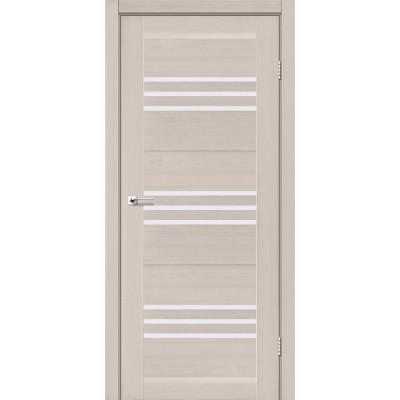 Межкомнатные двери Leador модель Sovana дуб латте со стеклом сатин