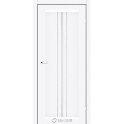 Межкомнатные двери Leador модель Verona белый матовый со стеклом сатин белый