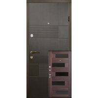 Двери Магда Тип-3 Венге темный 121/Орех мореный темный 606 Пиана BLK