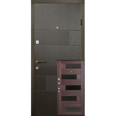 Двері Магда Тип-3 Венге темний 121 / Горіх морений темний 606 Пиана BLK