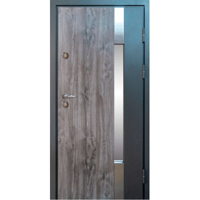 Входные двери Magda модель 900 Металл/МДФ тип 14 (Улица) дуб кантри/белое дерево