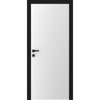 Дверь A1 белый матовый черные наличники