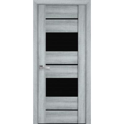 Двери Новый Стиль Аскона Бук кашемир с черным стеклом