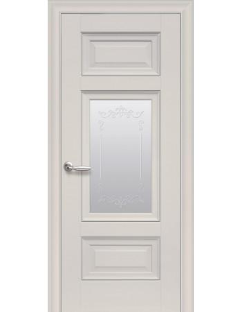 Дверь Элегант Шарм магнолия со стеклом сатин и молдингом с рисунком Р2