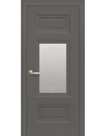 Дверь Элегант Шарм антрацит cо стеклом сатин с рисунком Р2
