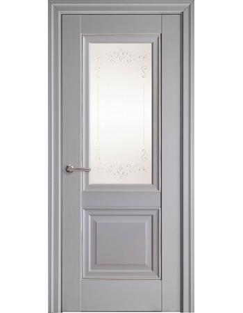 Двери Элегант Имидж серая пастель (со стеклом сатин и молдингом с рисунком Р2)