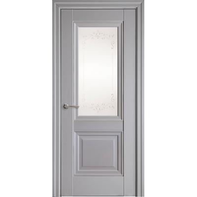 Двері Елегант Імідж сіра пастель (зі склом сатин і малюнком Р2)