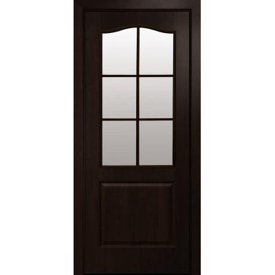 Двері Новий Стиль Класік каштан зі склом сатин