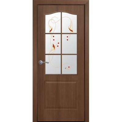 Двери Новый Стиль Классик золотая ольха cо стеклом сатин и рисунком Р1