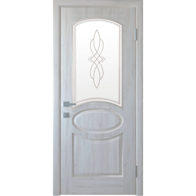 Двери Новый Стиль Овал ясень new cо стеклом сатин и рисунком Р1