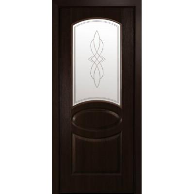 Двери Новый Стиль Овал каштан cо стеклом сатин и рисунком Р1