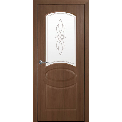 Двери Новый Стиль Овал золотая ольха cо стеклом сатин и рисунком Р1