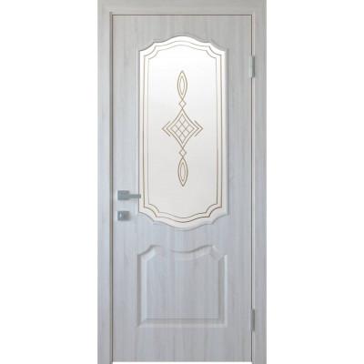 Двері Новий Стиль Вензель ясень new зі склом сатин та малюнком Р1