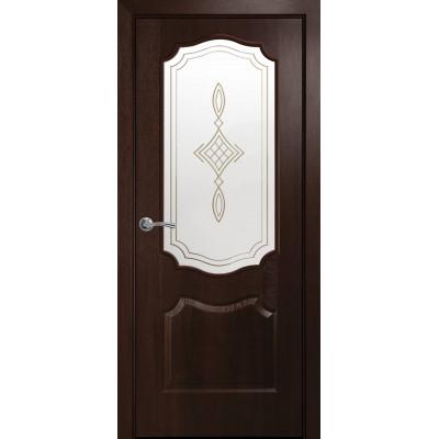 Двери Новый Стиль Вензель каштан cо стеклом сатин и рисунком Р1