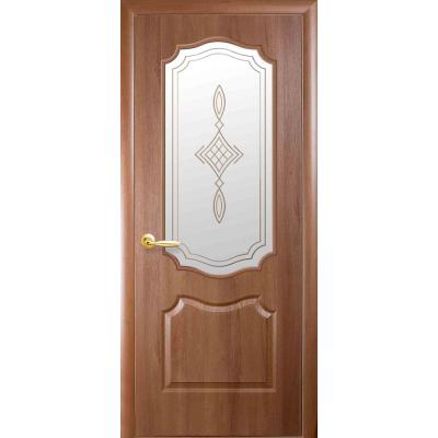 Двери Новый Стиль Вензель cо стеклом сатин и рисунком Р1 золотая ольха