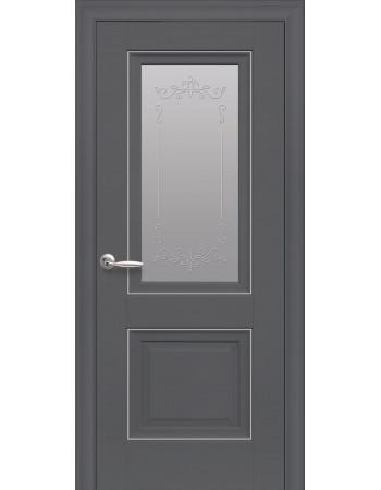Двері Елегант Імідж антрацит зі склом сатин і молдингом з малюнком Р2