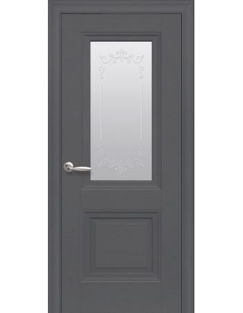 Дверь Элегант Имидж антрацит cо стеклом сатин с рисунком Р2