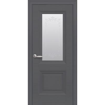 Двері Елегант Імідж антрацит зі склом сатин з малюнком Р2