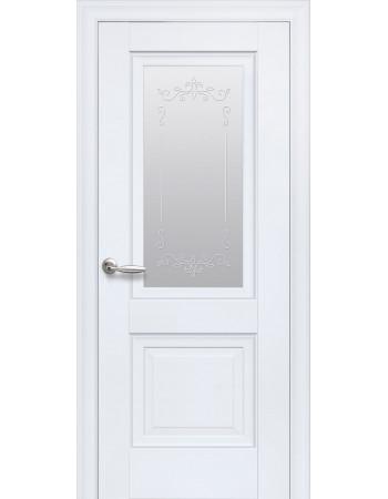 Дверь Элегант Имидж белый матовый cо стеклом сатин и рисунком Р2