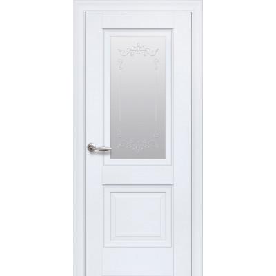 Двері Елегант Імідж білий матовий зі склом сатин і малюнком Р2