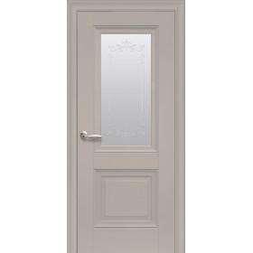 Двері Елегант Імідж капучино зі склом сатин і молдингом з малюнком Р2