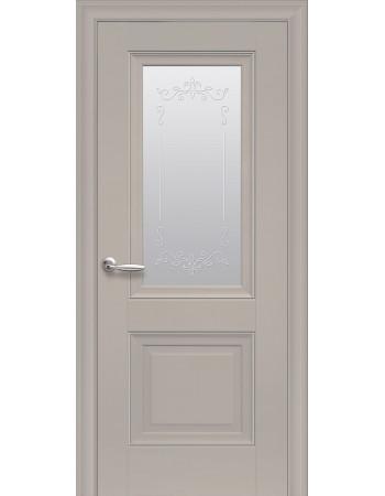Дверь Элегант Имидж капучино cо стеклом сатин и молдингом с рисунком Р2