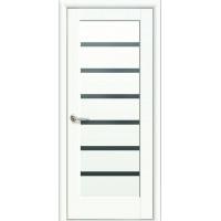 Двері Ностра Линнея білий матовий з чорним склом