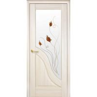 Двері Маестра Амата ясен new зі склом сатин і малюнком Р1