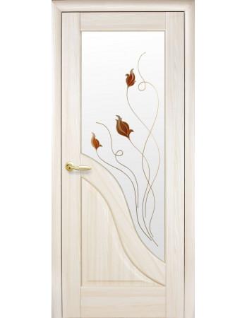 Дверь Маэстра Амата ясень new со стеклом сатин и рисунком Р1