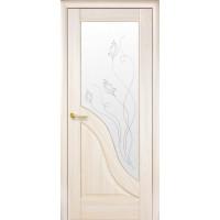 Двері Маестра Амата ясен new зі склом сатин і малюнком Р2