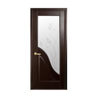 Двері Маестра Амата каштан зі склом сатин і малюнком Р2