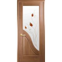 Двері Маестра Амата золота вільха зі склом сатин і малюнком Р1