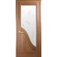Двері Маестра Амата золота вільха зі склом сатин і малюнком Р2