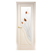 Двері Маестра Амата патина зі склом сатин і малюнком Р1