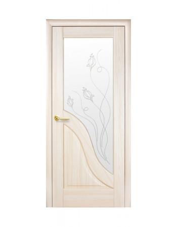 Дверь Маэстра Амата патина со стеклом сатин и рисунком Р2