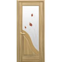 Двері Маестра Амата золотий дуб зі склом сатин і малюнком Р1