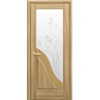 Двері Маестра Амата золотий дуб зі склом сатин і малюнком Р2