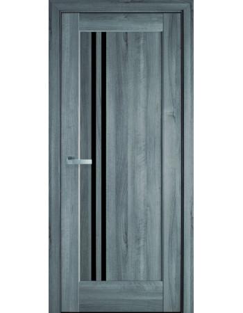 Дверь Ностра Делла бук пепельный с черным стеклом