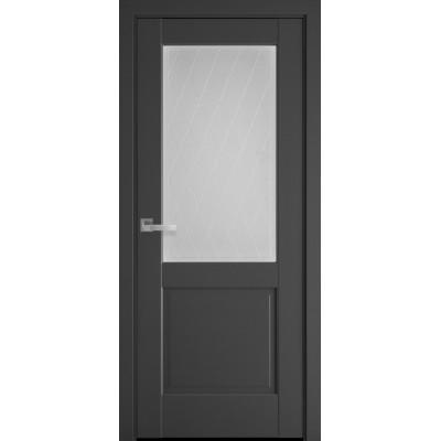 Дверь Маэстра Эпика антрацит со стеклом сатин и рисунком Р2