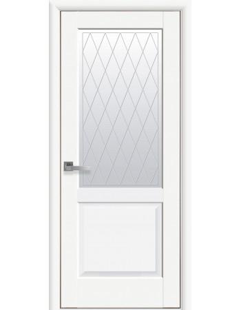 Дверь Маэстра Эпика белый матовый со стеклом сатин и рисунком Р2