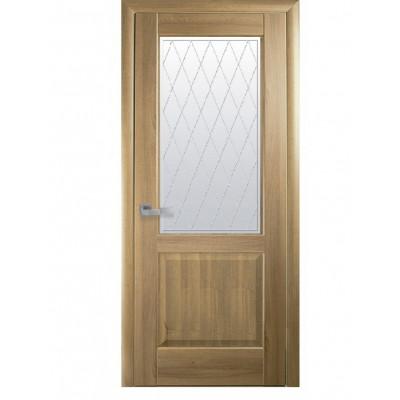Дверь Маэстра Эпика золотой дуб со стеклом сатин и рисунком Р2